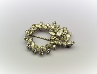 Round and Marquise Diamond Brooch