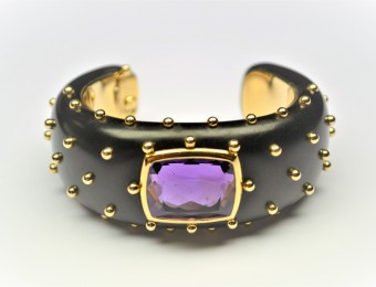 Ebony Gold and Amethyst Bangle