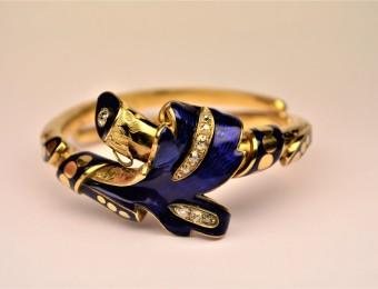 Belle Epoque Engraved Bracelet, Enamel and diamonds