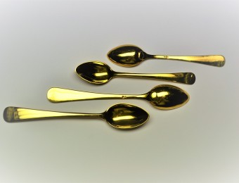 Antique Portuguese Gold Tea and Coffee Spoons