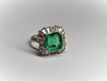 1970's  Emerald Cocktail Ring