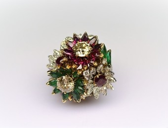 Rubies Emeralds Diamonds Flower Ring