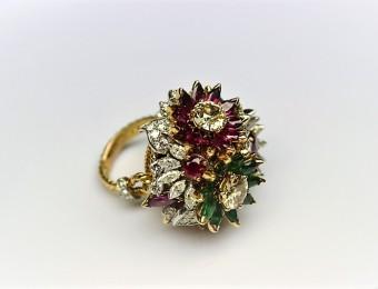 Rubies Emeralds Diamonds Flower Ring